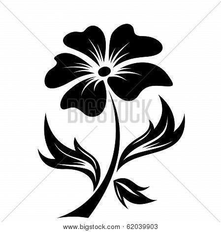 Black silhouette of flower. Vector illustration.