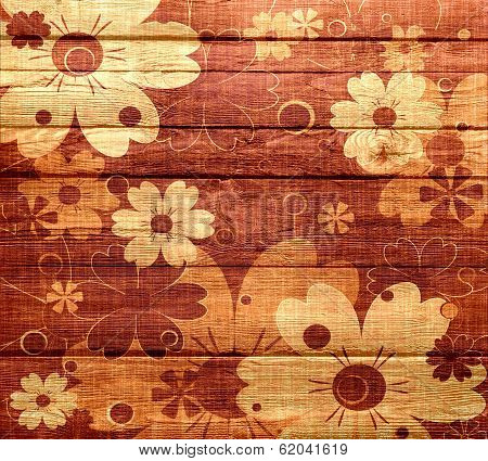 Wood vintage floral background