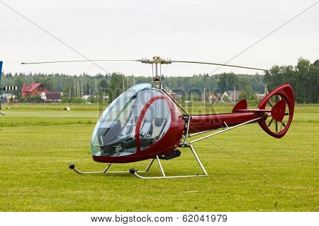 private helicopter on grass