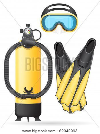 Aqualung Mask Tube And Flippers For Diving Vector Illustration
