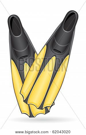 Flippers For Diving Vector Illustration