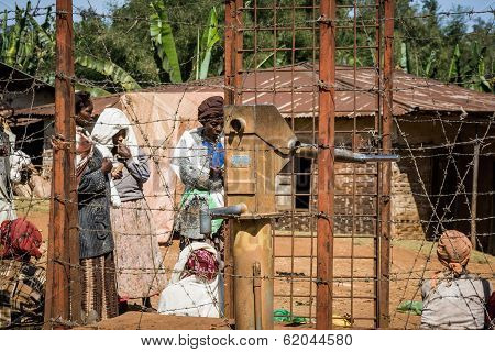 Well For Drinking Water Protected By Fence With Barbed Wire, Ethiopia