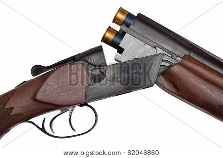 Opened Double-barrelled Hunting Gun With Two Blue Cartridges Close-up Isolated On White