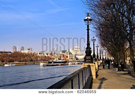 View of St. Paul's Cathedral from South Bank of Thames river in London