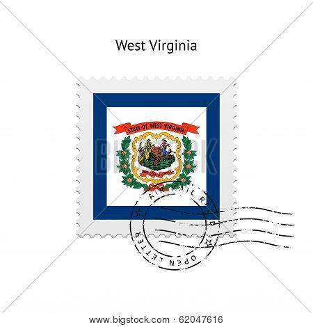 State of West Virginia flag postage stamp.