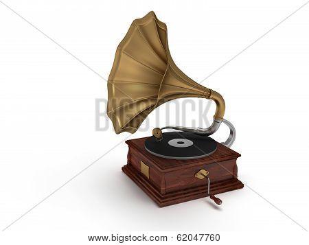 3d old vintage gramophone