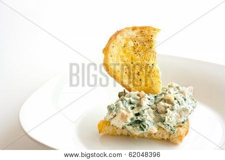 Homemade Spinach Dip On Crostini
