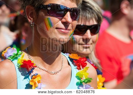 Participants And Spectators In The Prague Pride Parade
