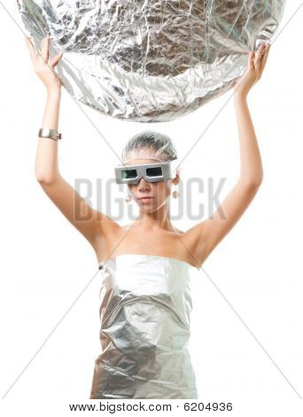 Future Robot Woman With Silver Disk