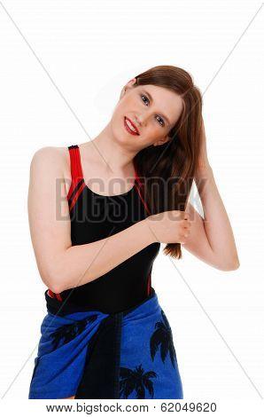 Woman In Black Bathing Suit