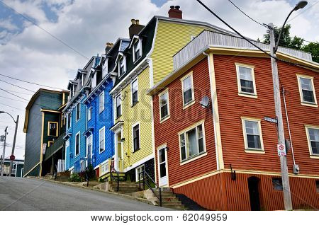 Colorful houses on hill in St. John's, Newfoundland, Canada