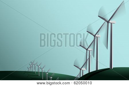 Wind generators on the fields
