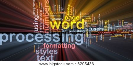 Word Processing Word Cloud Glowing
