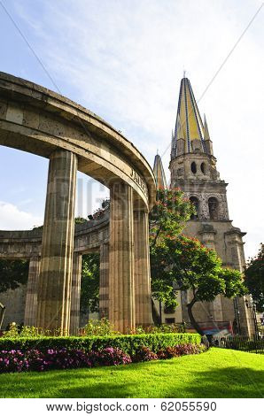 Rotonda de los Jalisciences Ilustres and Cathedral in historic center in Guadalajara, Jalisco, Mexico