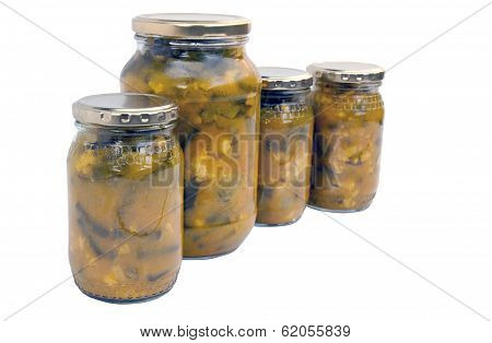Four Isolated Jars Of Homemade Piccalilli