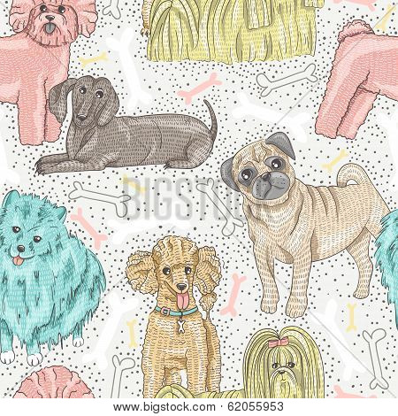 Cute Seamless Vector Pattern With Little Breed Dogs. Bichon, Pug, Spitz, Dachshund, Poodle, Shih Tzu