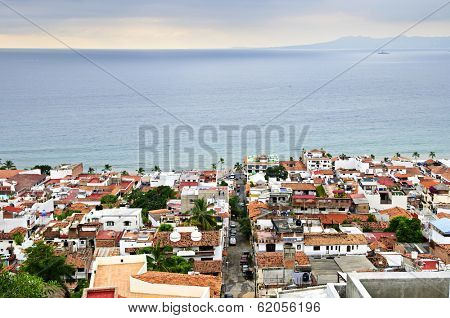 View of rooftops and Pacific ocean in Puerto Vallarta, Mexico