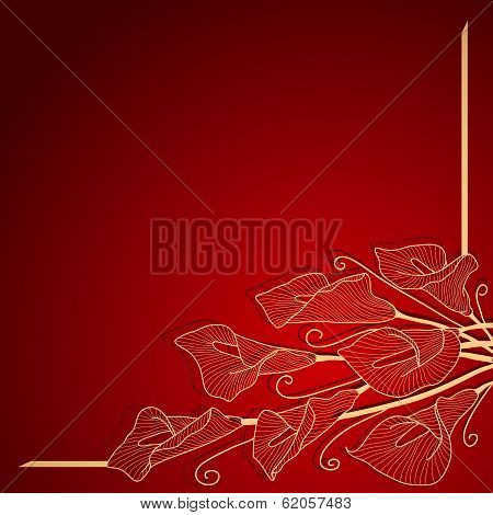 Red invitation frame with gold  flower