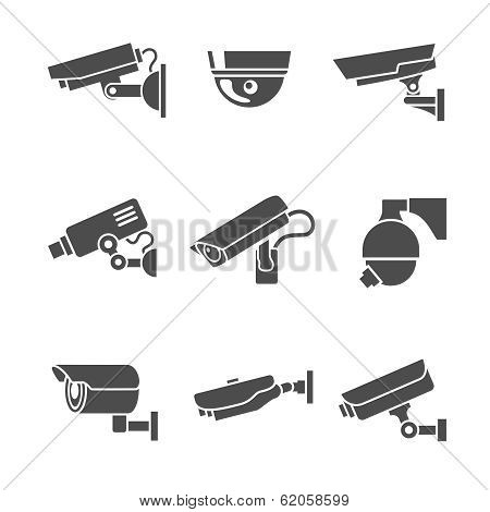 Security Cameras Icons Set
