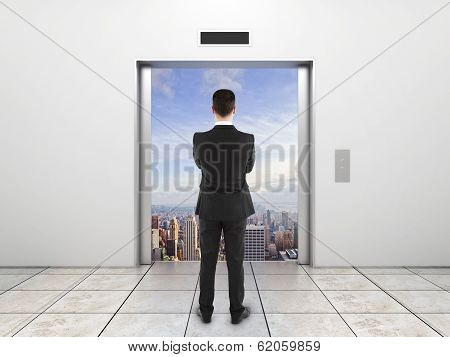Elevator With Opened Door To City
