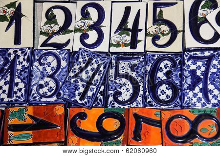 House numbers at a Mexican market.