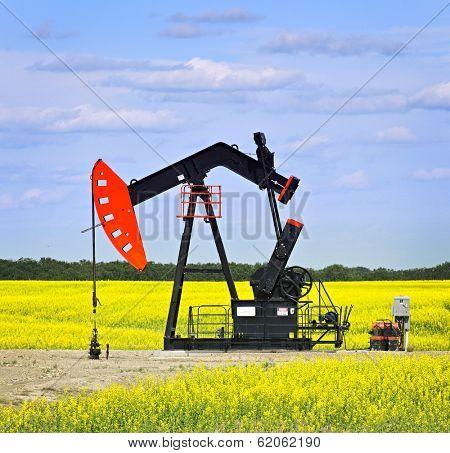 Oil pumpjack or nodding horse pumping unit in Saskatchewan prairies, Canada