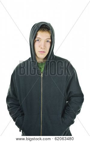 Serious young man standing wearing hoodie isolated on white background