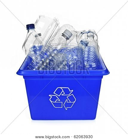 Recycling box filled with clear plastic containers isolated on white