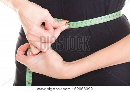 Young Athletic Sexy Woman Measuring Size Waist Tape Measure Isolated
