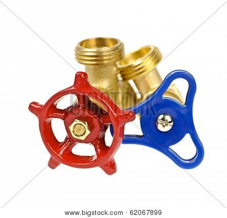 Blue and red plumbing valves isolated on white background