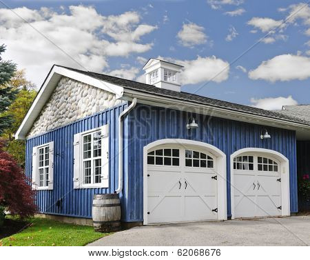 Double car garage with white doors and blue exterior