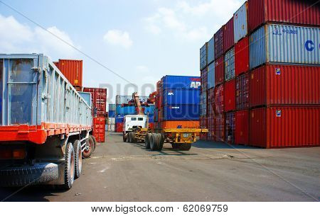 Truck, Trailer Load Container At Vietnam Port