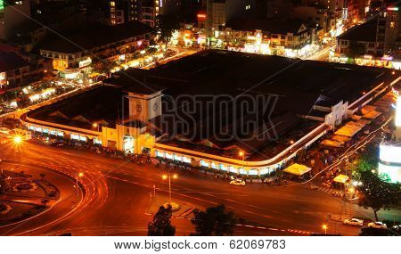 Ben Thanh Market, Ho Chi Minh, Vietnam At Night