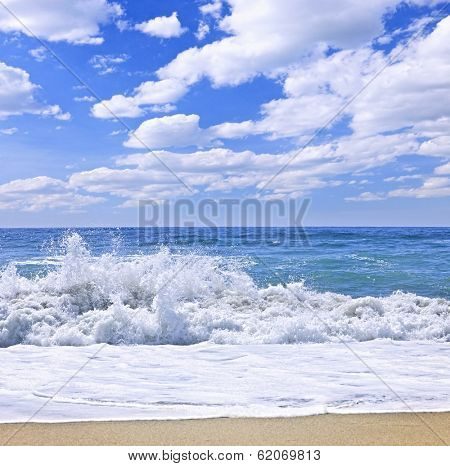 Ocean surf crashing on pristine beach, Pacific Rim National park, Canada