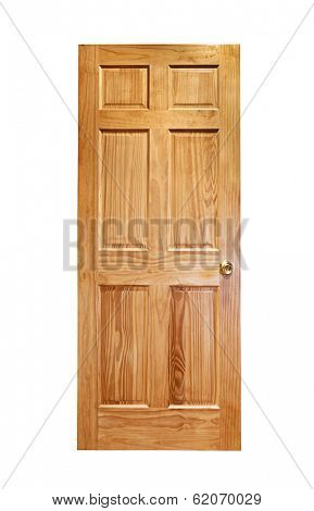 Isolated wooden front door with brass handle on white background