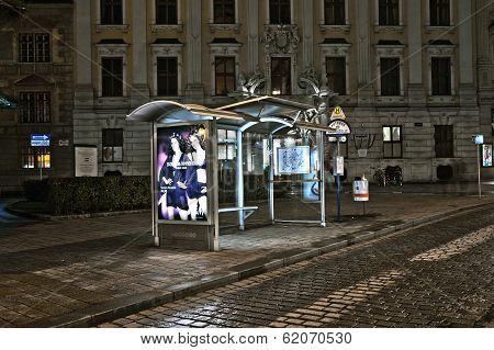 Vienna - Empty Bus Stop In Viennas First District By Night