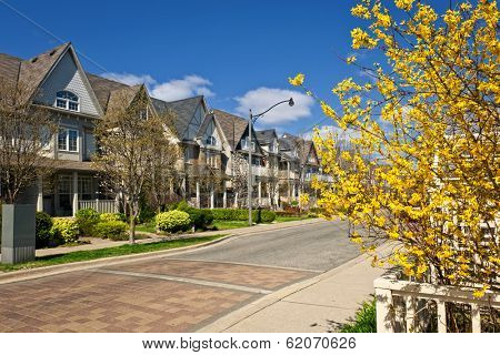 Row of houses on spring street in Toronto Canada