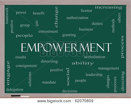 Empowerment Word Cloud Concept On A Blackboard