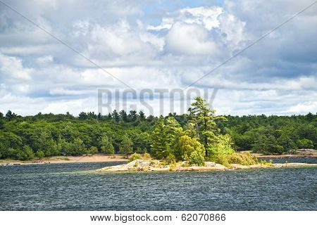 Small island and beach in Killbear provincial park near Parry Sound, Ontario Canada