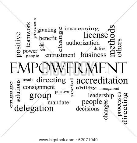 Empowerment Word Cloud Concept In Black And White