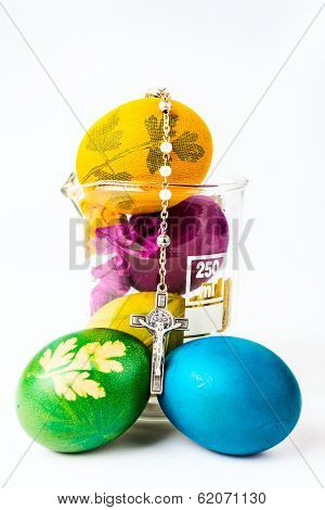 Easter Eggs With Rosary On Lab Glass