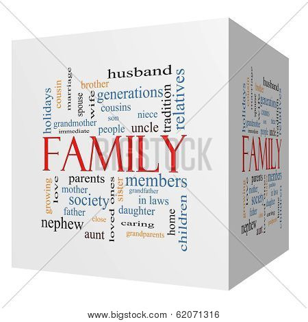 Family 3D Cube Word Cloud Concept