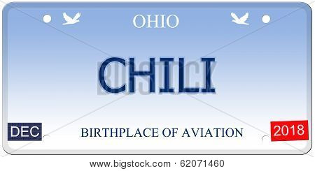 Chili Ohio Imitation License Plate