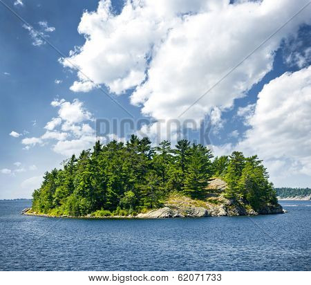 Small rocky island in Georgian Bay near Parry Sound, Ontario, Canada.