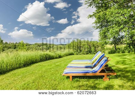 Two wooden outdoor lounge chairs on lush green lawn with trees