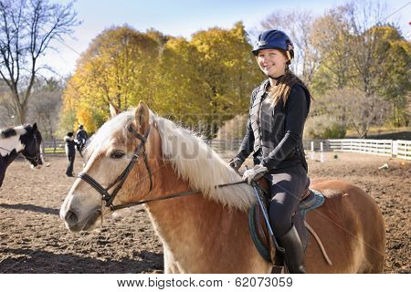 Portrait of teenage girl riding horse outdoors on sunny autumn day