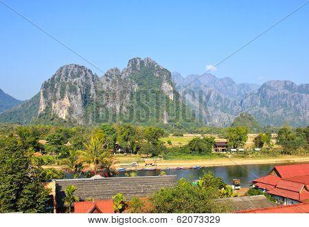 View Of Vang Vieng, Laos.