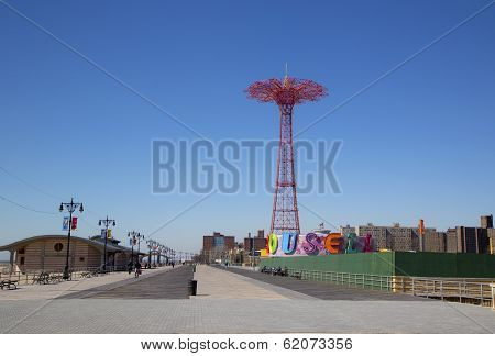Coney Island Boardwalk with Parachute Jump in the background