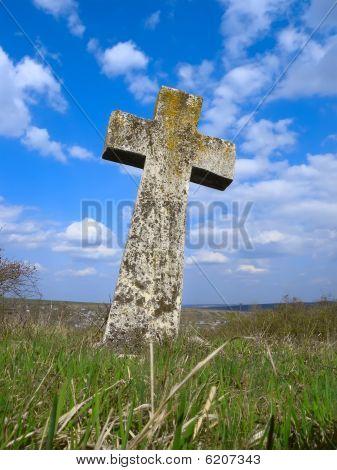 Exalted religious stone cross, cemetery, heaven