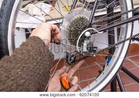 Real bicycle mechanic repairing custom fixie bike